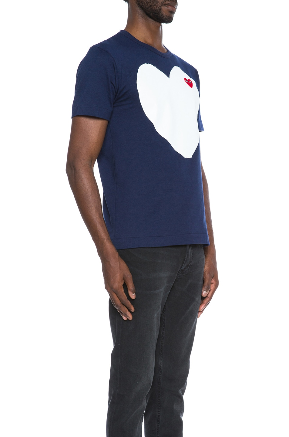 Image 3 of Comme Des Garcons PLAY Red Emblem Cotton Heart Tee in Navy