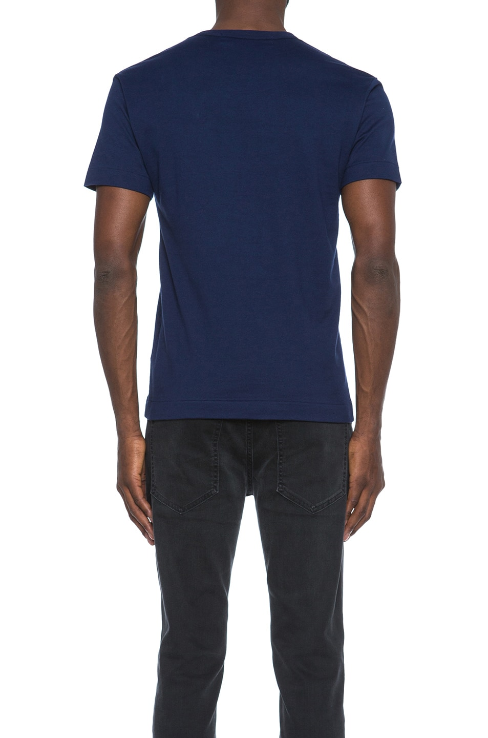 Image 4 of Comme Des Garcons PLAY Red Emblem Cotton Heart Tee in Navy
