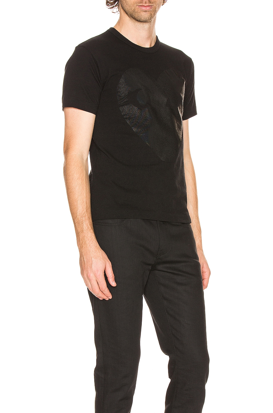 Image 2 of Comme Des Garcons PLAY Printed Heart Cotton Tee in Black