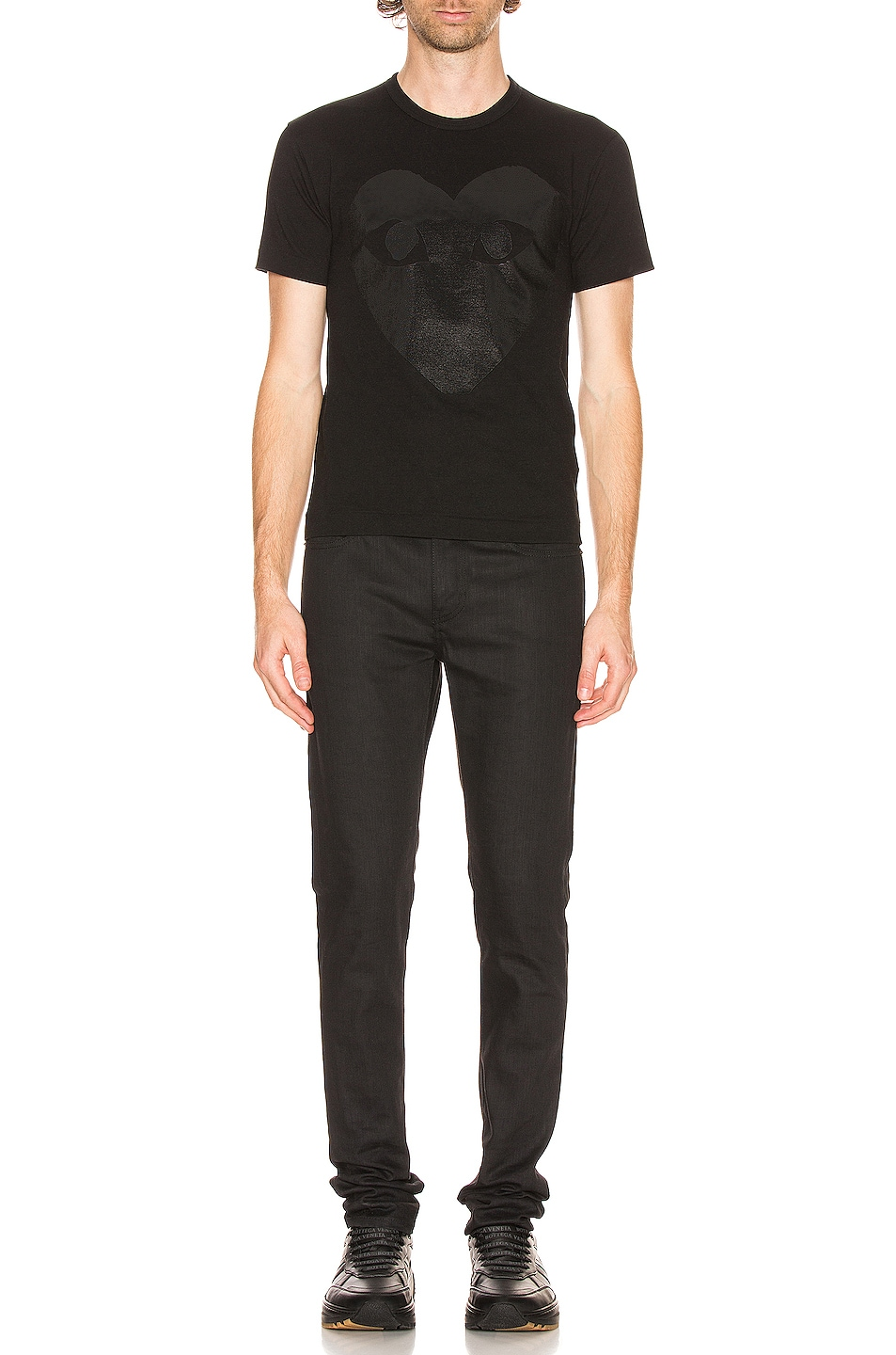 Image 4 of Comme Des Garcons PLAY Printed Heart Cotton Tee in Black