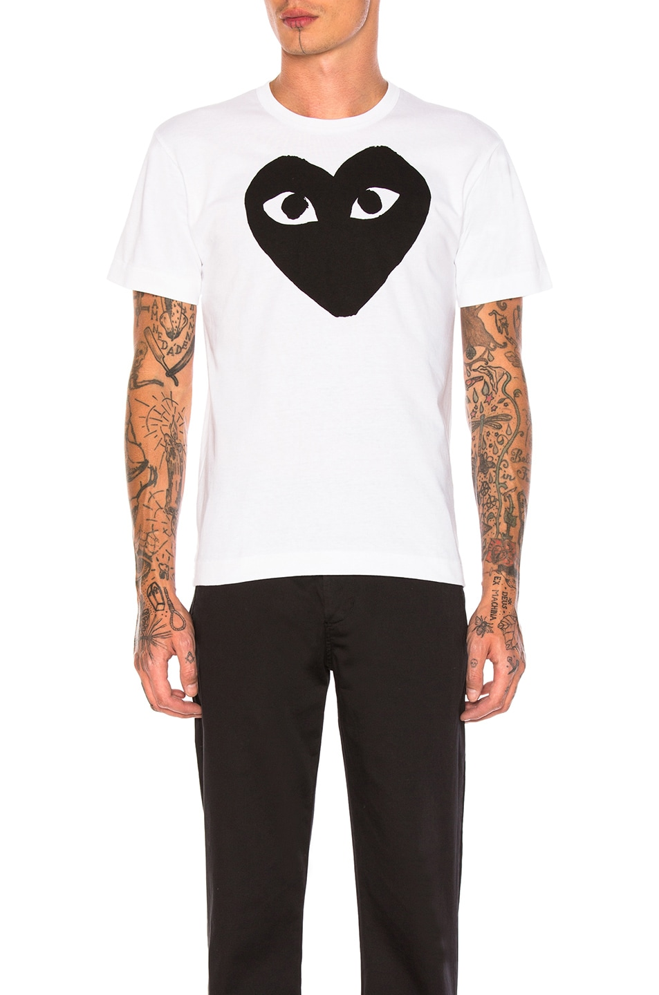 Image 1 of Comme Des Garcons PLAY Emblem Cotton Tee in White & Black