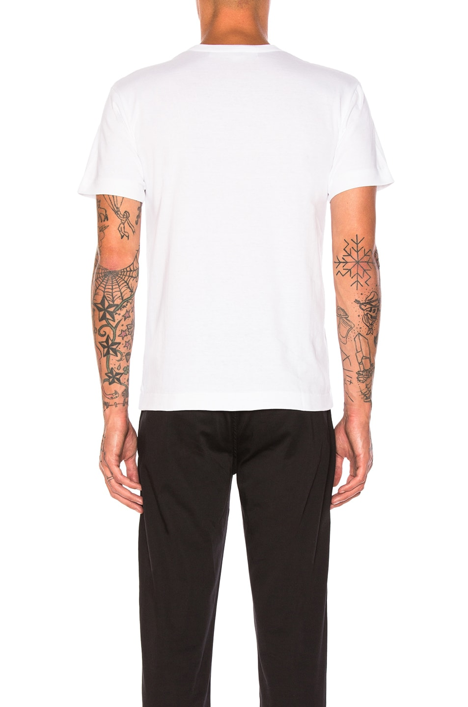 Image 3 of Comme Des Garcons PLAY Emblem Cotton Tee in White & Black