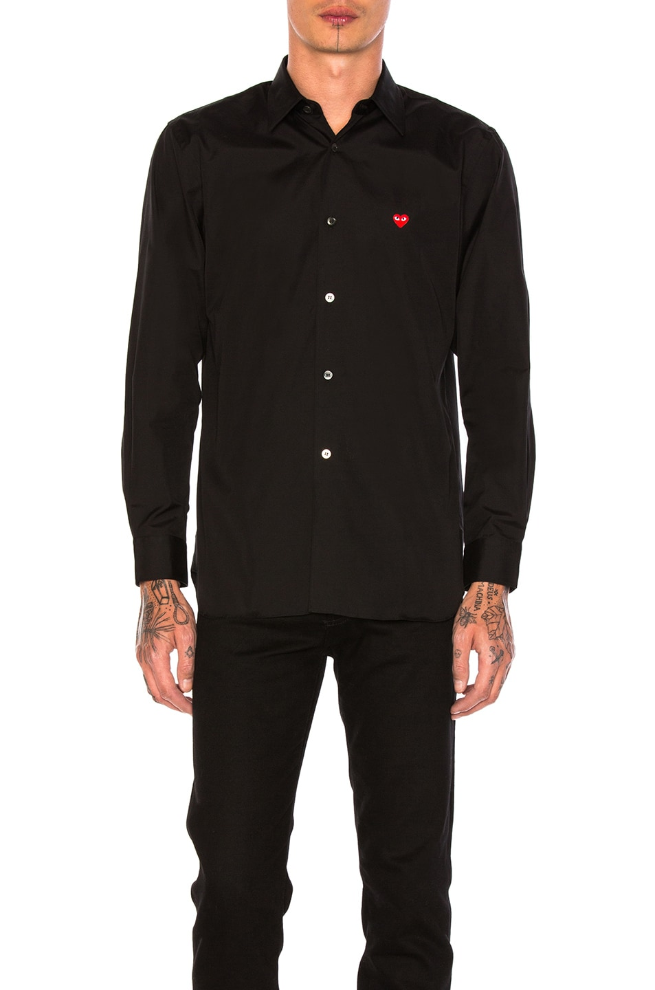 Image 1 of Comme Des Garcons PLAY Small Red Emblem Cotton Button Down in Black