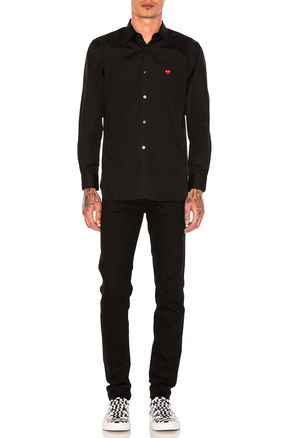 Image 4 of Comme Des Garcons PLAY Small Red Emblem Cotton Button Down in Black