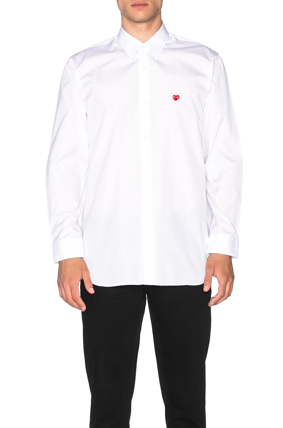 Image 1 of Comme Des Garcons PLAY Small Red Emblem Cotton Button Down in White