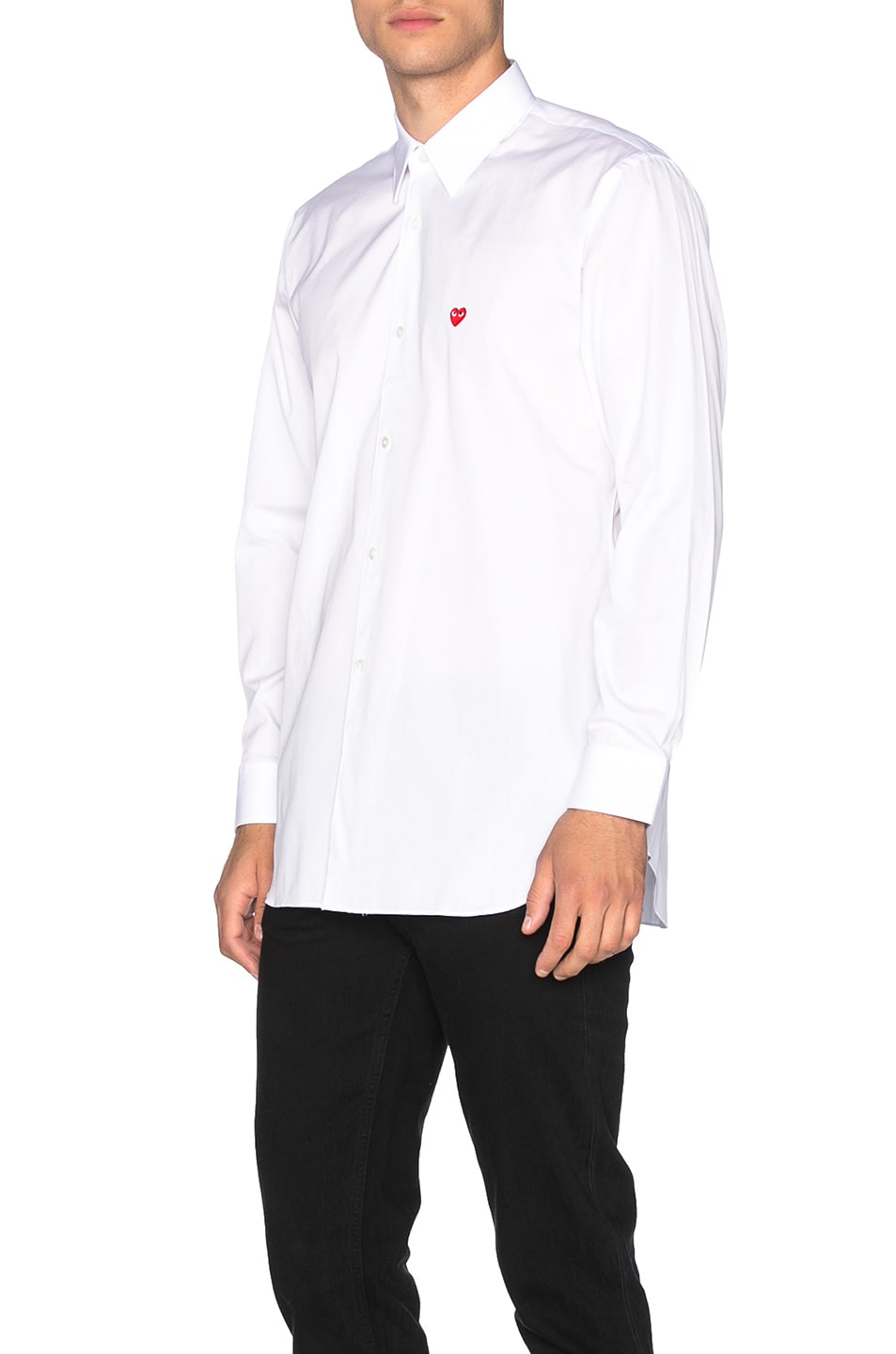 Image 2 of Comme Des Garcons PLAY Small Red Emblem Cotton Button Down in White