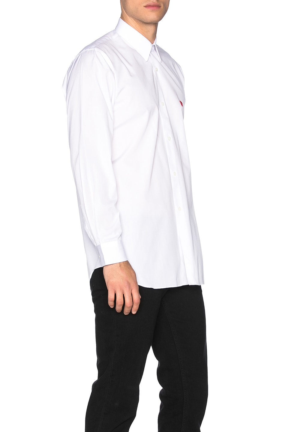 Image 3 of Comme Des Garcons PLAY Small Red Emblem Cotton Button Down in White