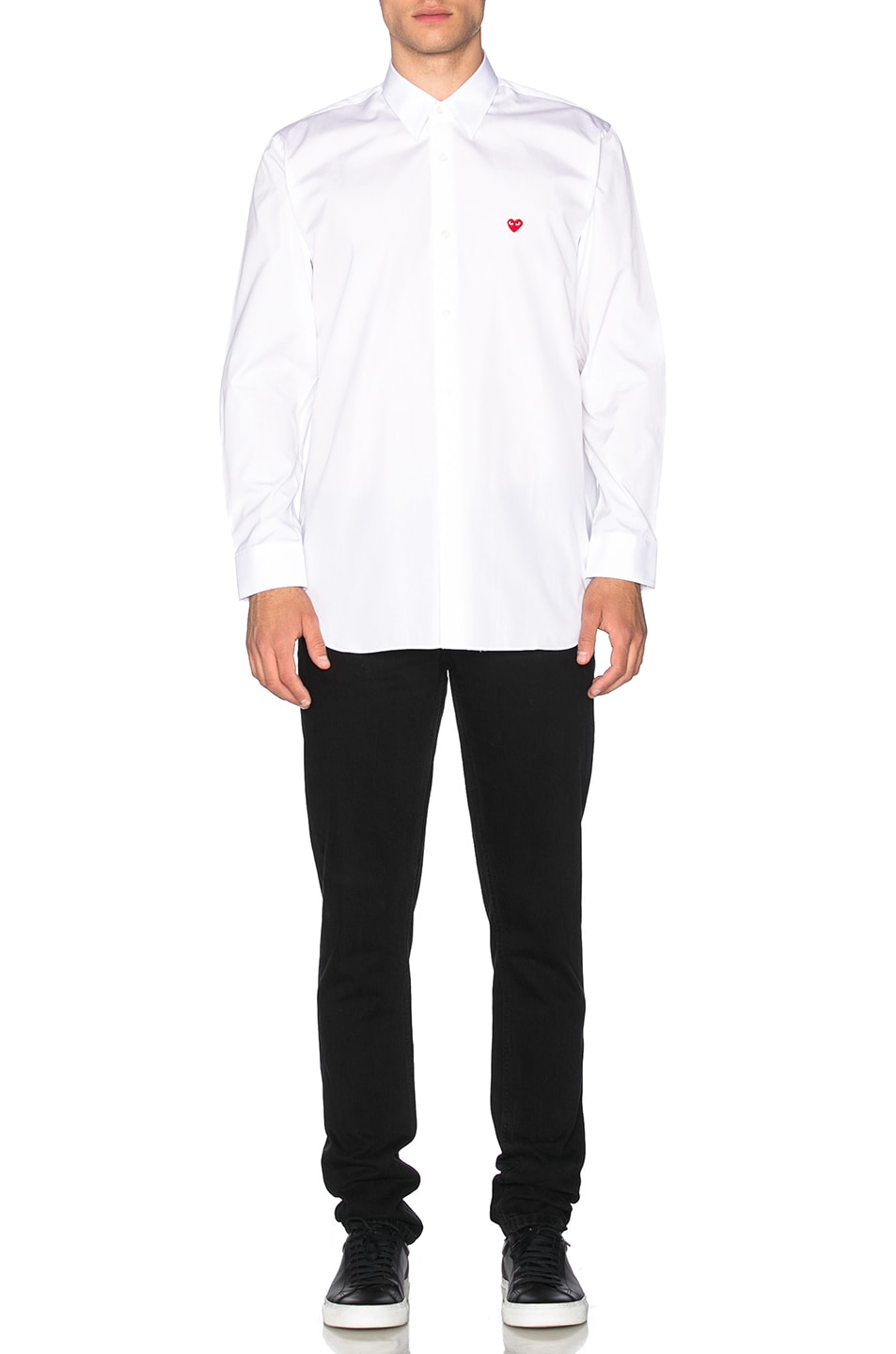 Image 5 of Comme Des Garcons PLAY Small Red Emblem Cotton Button Down in White