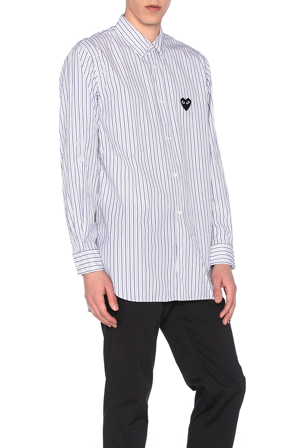 Image 3 of Comme Des Garcons PLAY Broad Stripe Cotton Button Down in Blue