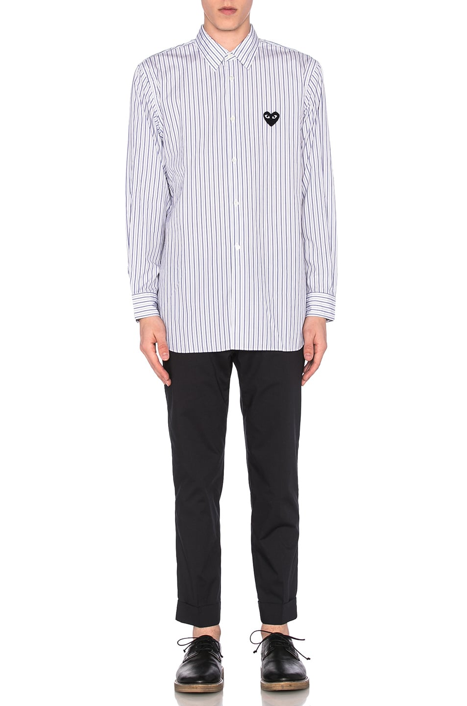 Image 5 of Comme Des Garcons PLAY Broad Stripe Cotton Button Down in Blue