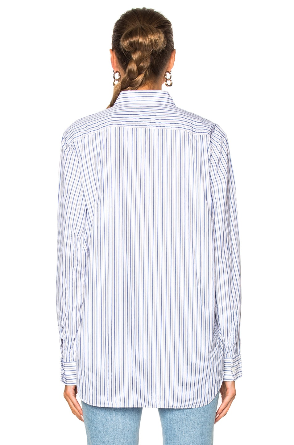 Image 4 of Comme Des Garcons PLAY Broad Stripe Cotton Button Down in Blue