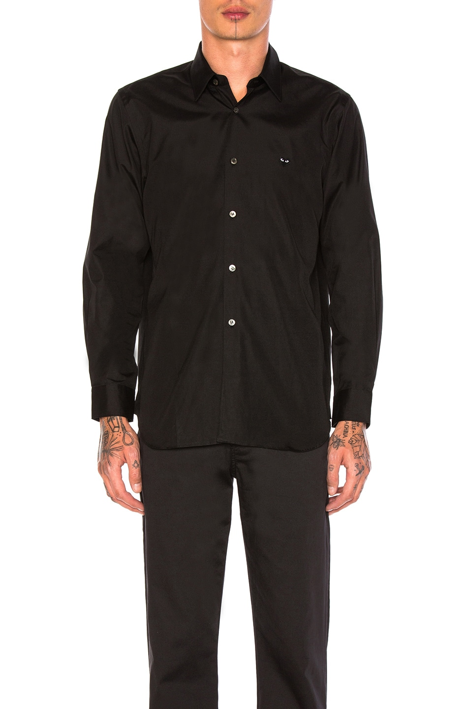 Image 1 of Comme Des Garcons PLAY Small Black Emblem Cotton Button Down in Black