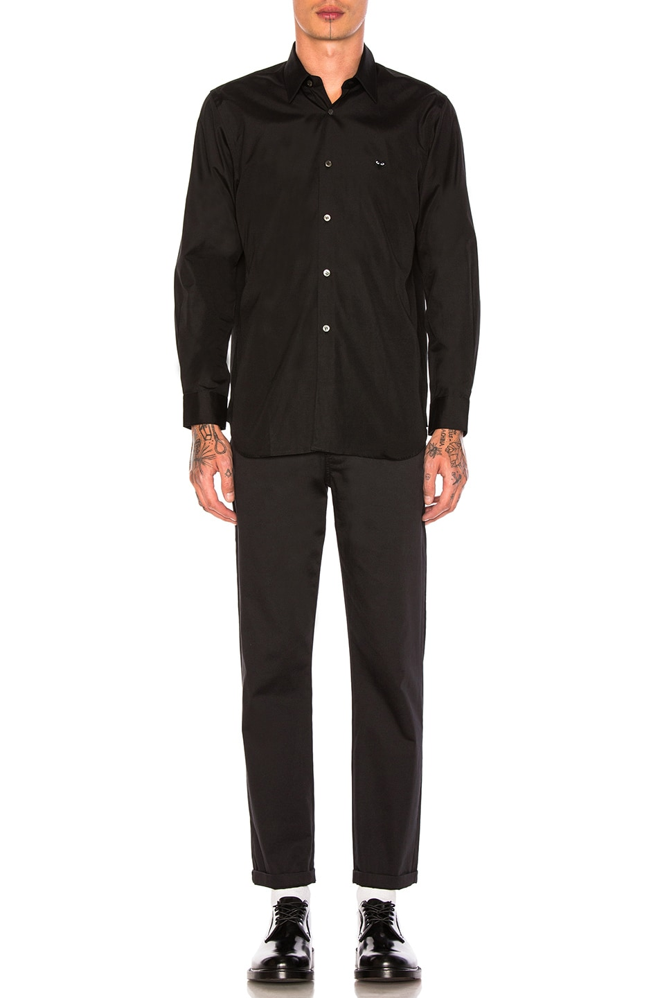 Image 4 of Comme Des Garcons PLAY Small Black Emblem Cotton Button Down in Black