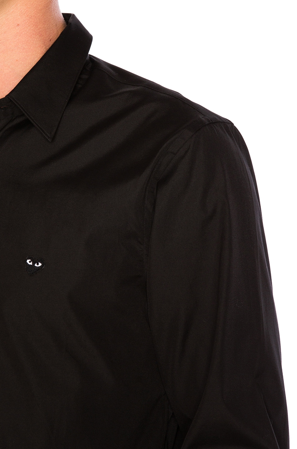 Image 5 of Comme Des Garcons PLAY Small Black Emblem Cotton Button Down in Black