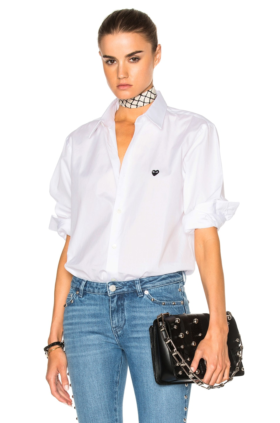 Image 1 of Comme Des Garcons PLAY Small Black Emblem Cotton Button Down in White