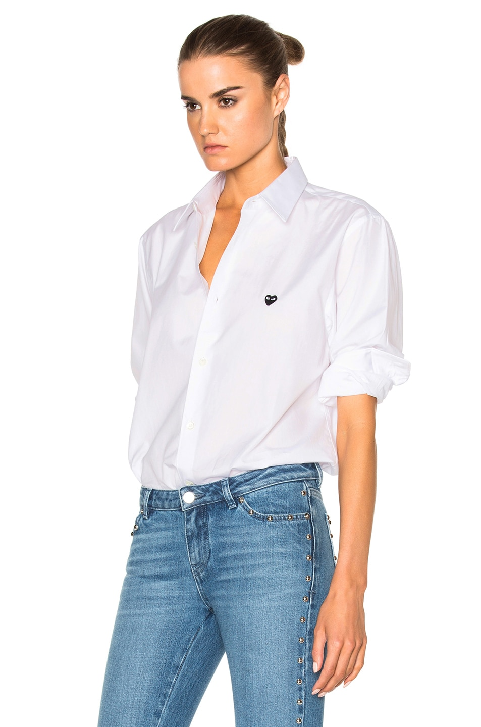 Image 2 of Comme Des Garcons PLAY Small Black Emblem Cotton Button Down in White