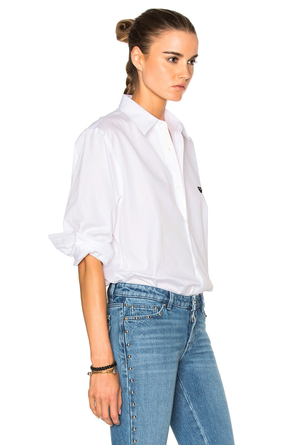 Image 3 of Comme Des Garcons PLAY Small Black Emblem Cotton Button Down in White