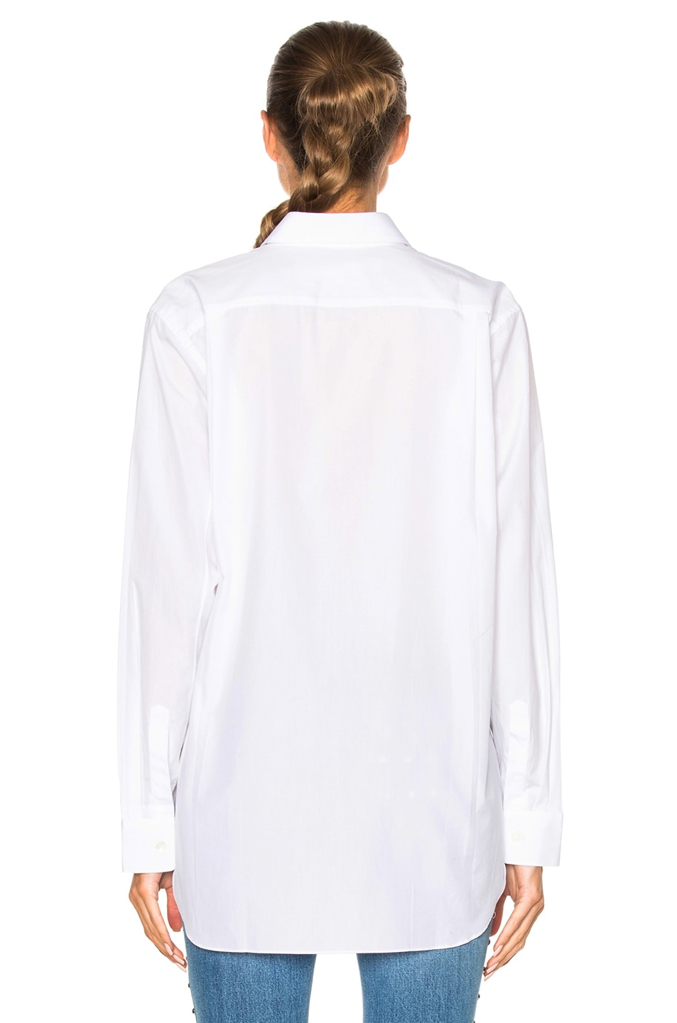 Image 4 of Comme Des Garcons PLAY Small Black Emblem Cotton Button Down in White