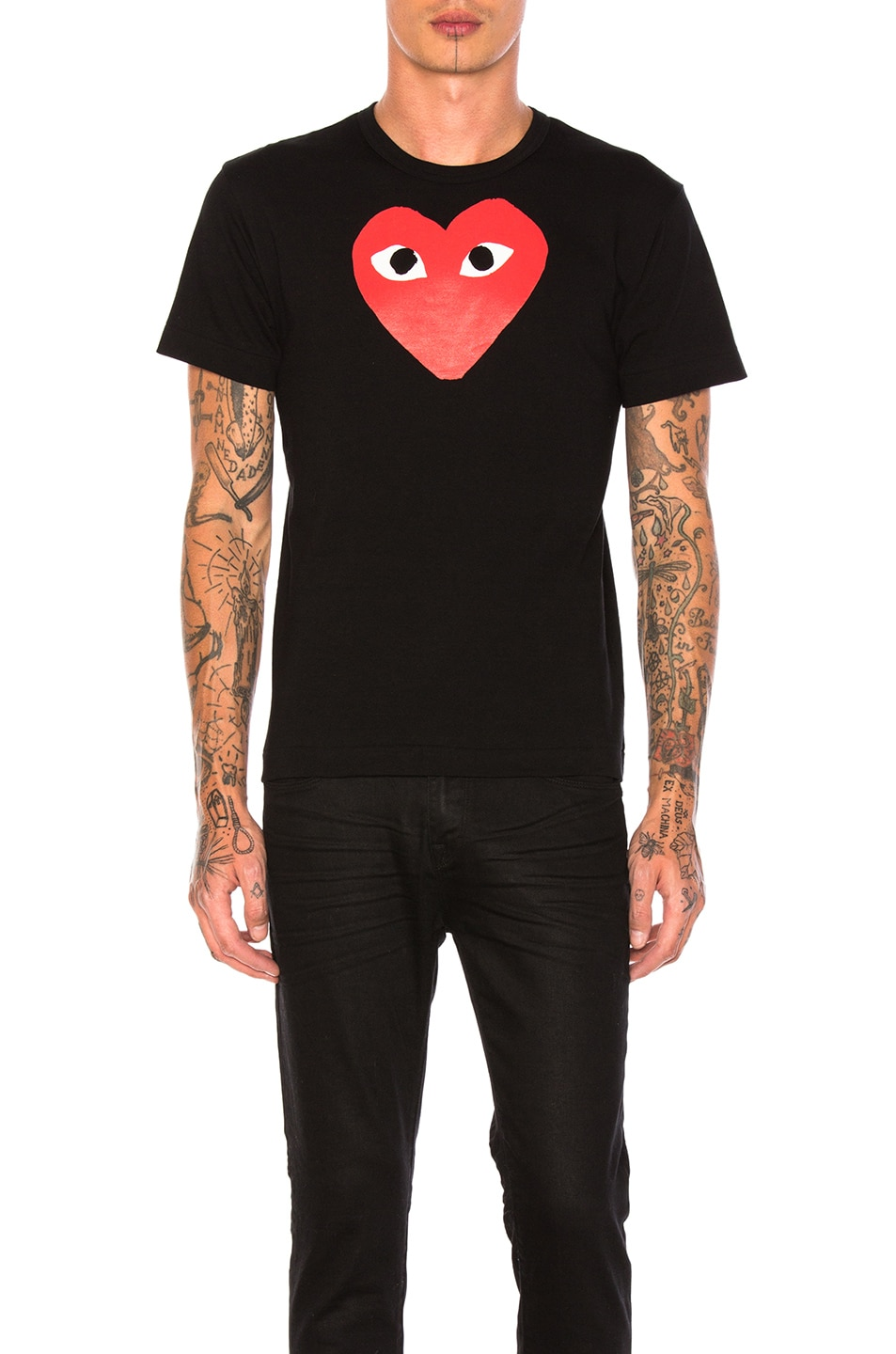 Image 1 of Comme Des Garcons PLAY Printed Red Heart Cotton Tee in Black