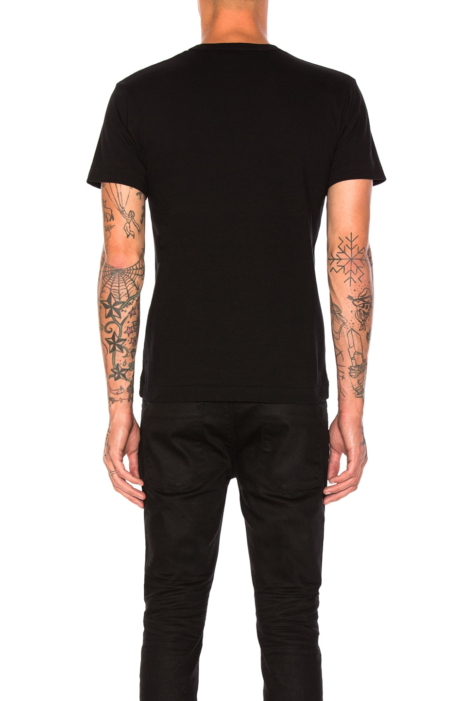 Image 3 of Comme Des Garcons PLAY Printed Red Heart Cotton Tee in Black
