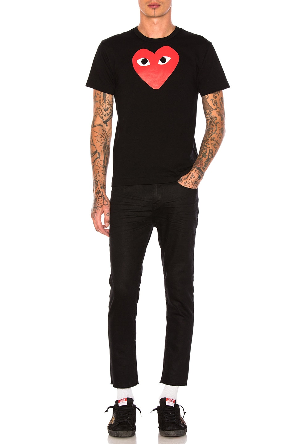 Image 4 of Comme Des Garcons PLAY Printed Red Heart Cotton Tee in Black
