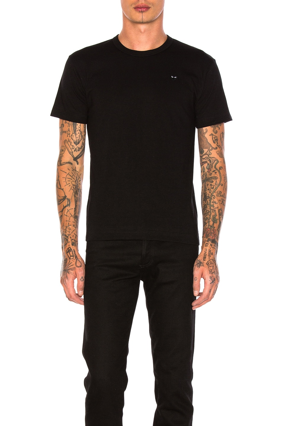 Image 1 of Comme Des Garcons PLAY Small Black Emblem Cotton Tee in Black