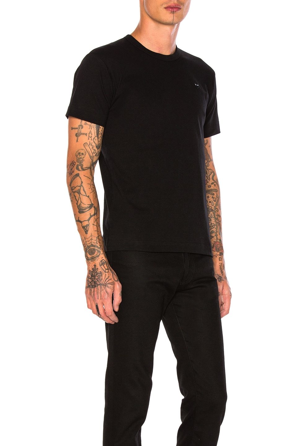 Image 2 of Comme Des Garcons PLAY Small Black Emblem Cotton Tee in Black