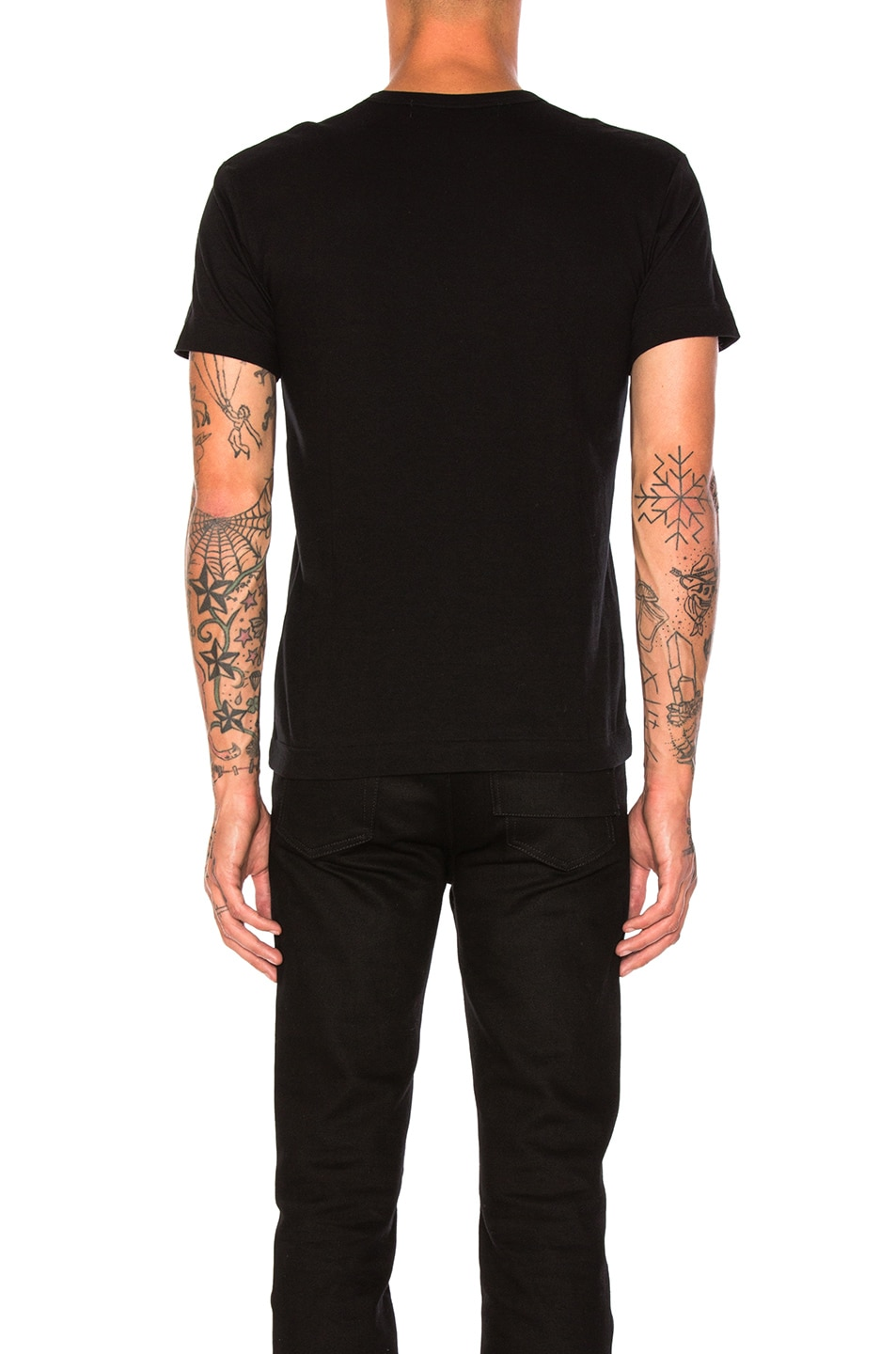 Image 3 of Comme Des Garcons PLAY Small Black Emblem Cotton Tee in Black