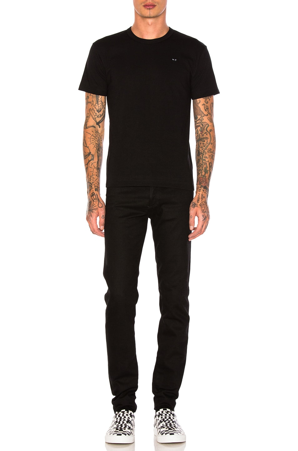 Image 4 of Comme Des Garcons PLAY Small Black Emblem Cotton Tee in Black
