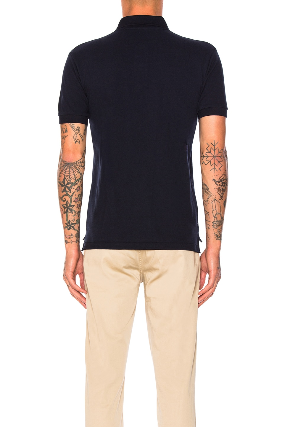 Image 3 of Comme Des Garcons PLAY Small Red Emblem Cotton Polo in Navy