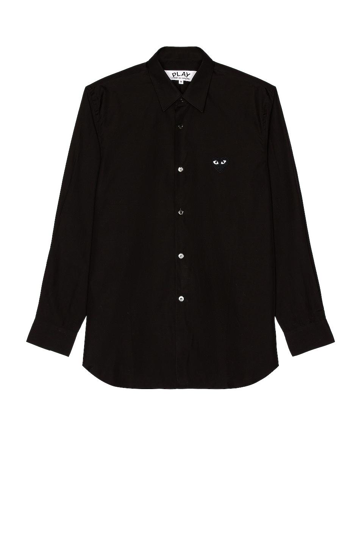 Image 1 of Comme Des Garcons PLAY Black Emblem Cotton Button Down in Black