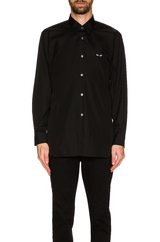 Image 5 of Comme Des Garcons PLAY Black Emblem Cotton Button Down in Black