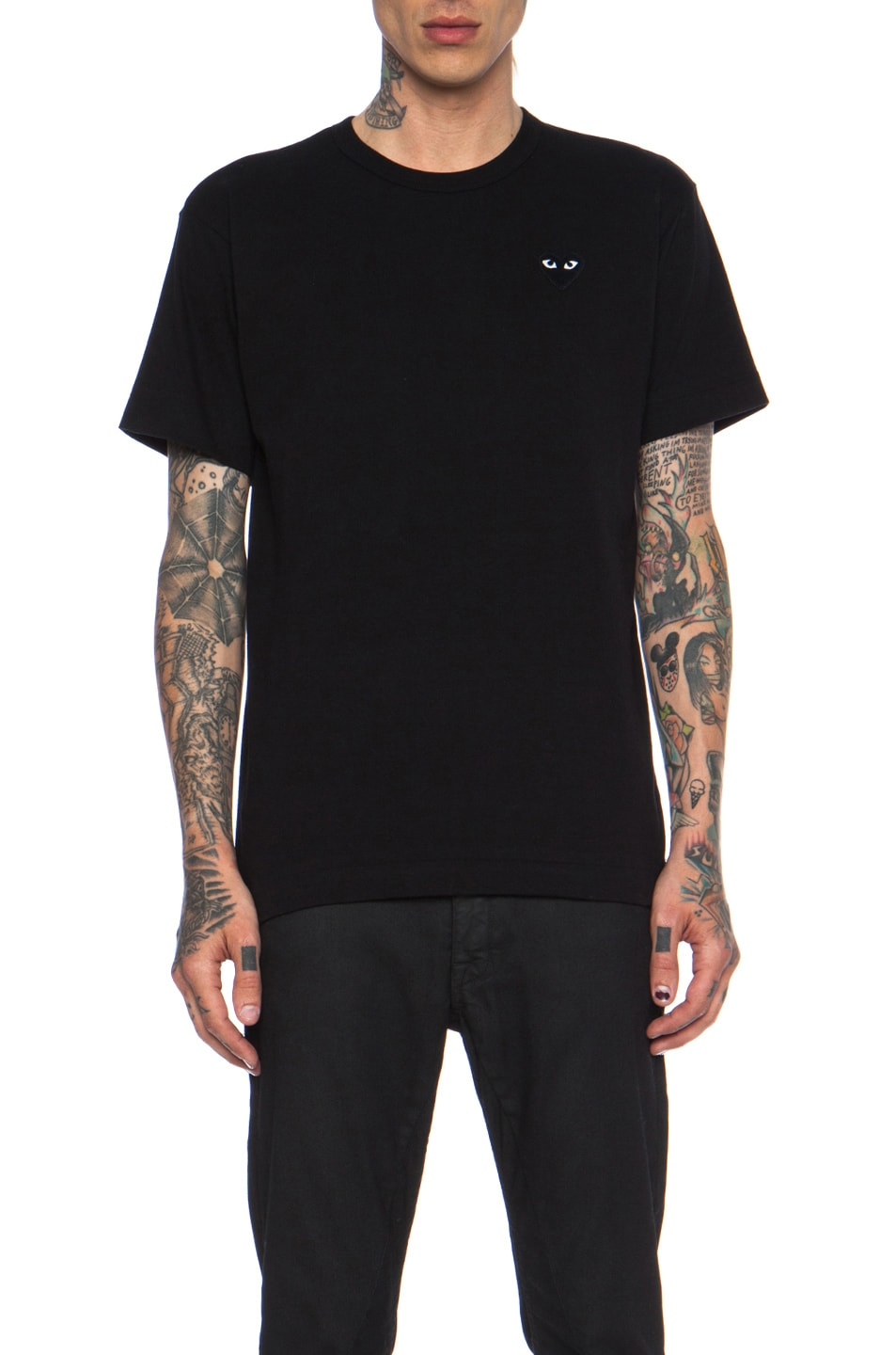 Image 1 of Comme Des Garcons PLAY Black Emblem Cotton Tee in Black
