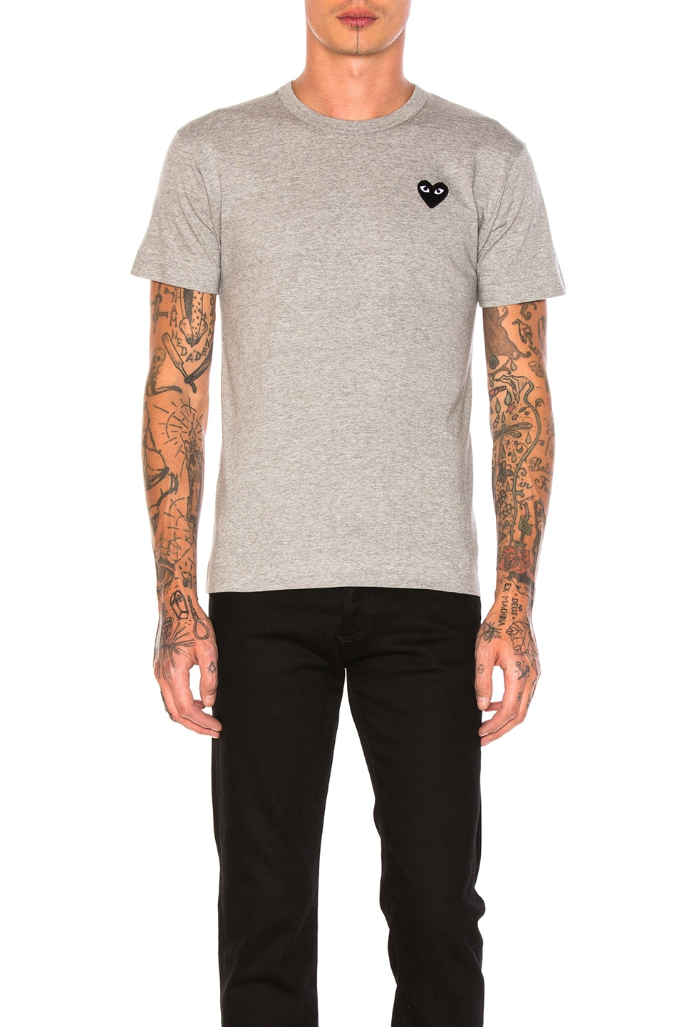 Image 1 of Comme Des Garcons PLAY Black Emblem Cotton Tee in Grey
