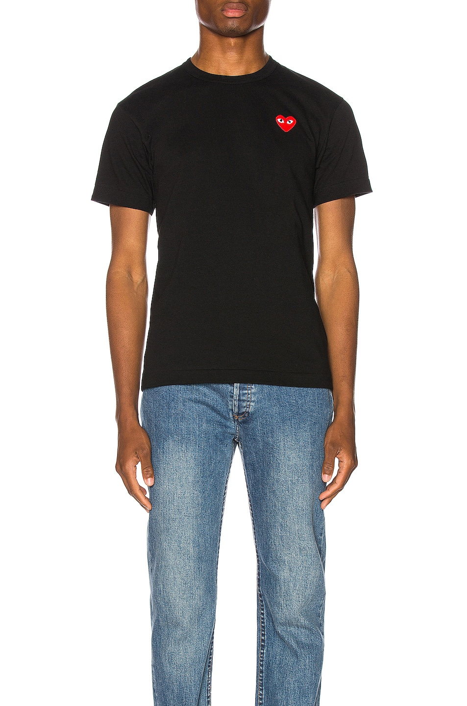 Image 1 of Comme Des Garcons PLAY Red Heart Emblem Cotton Tee in Black