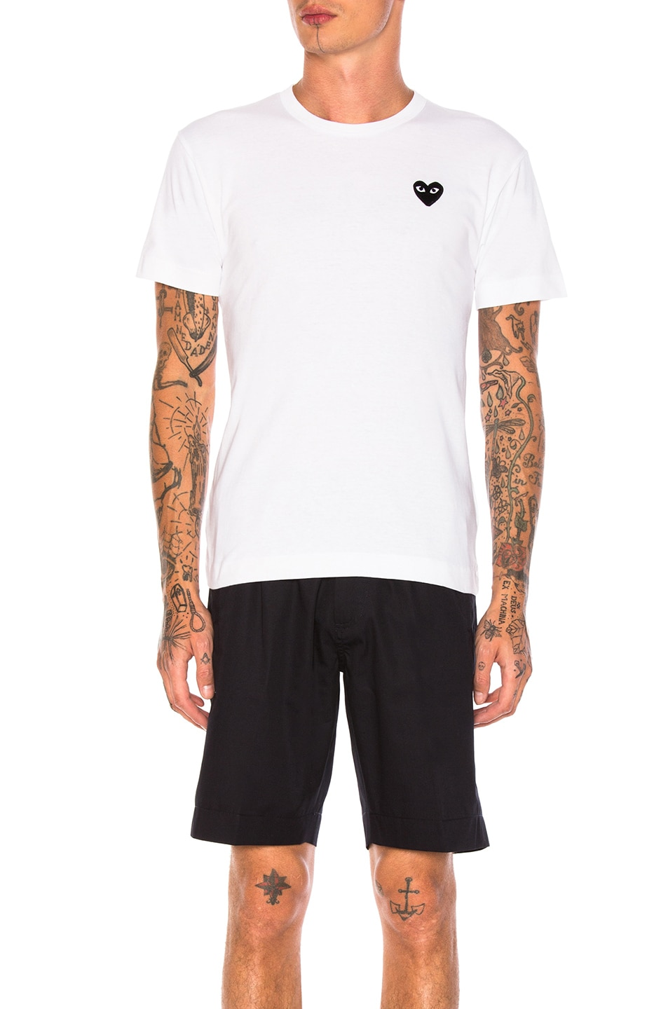 Image 1 of Comme Des Garcons PLAY Cotton Tee with Black Emblem in White