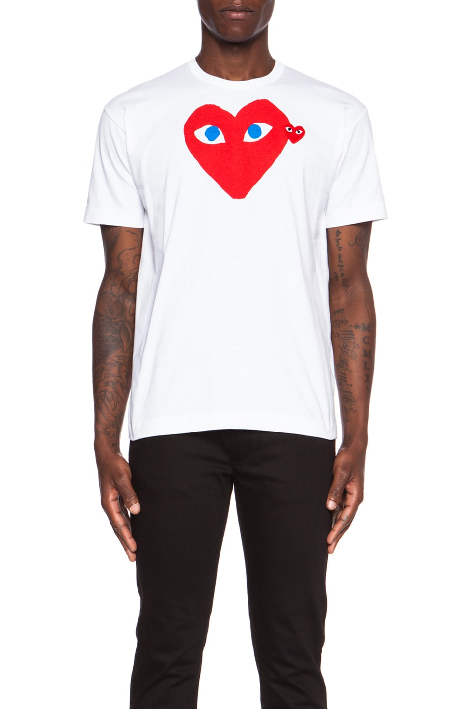 Image 1 of Comme Des Garcons PLAY Red Emblem Cotton Tee in White
