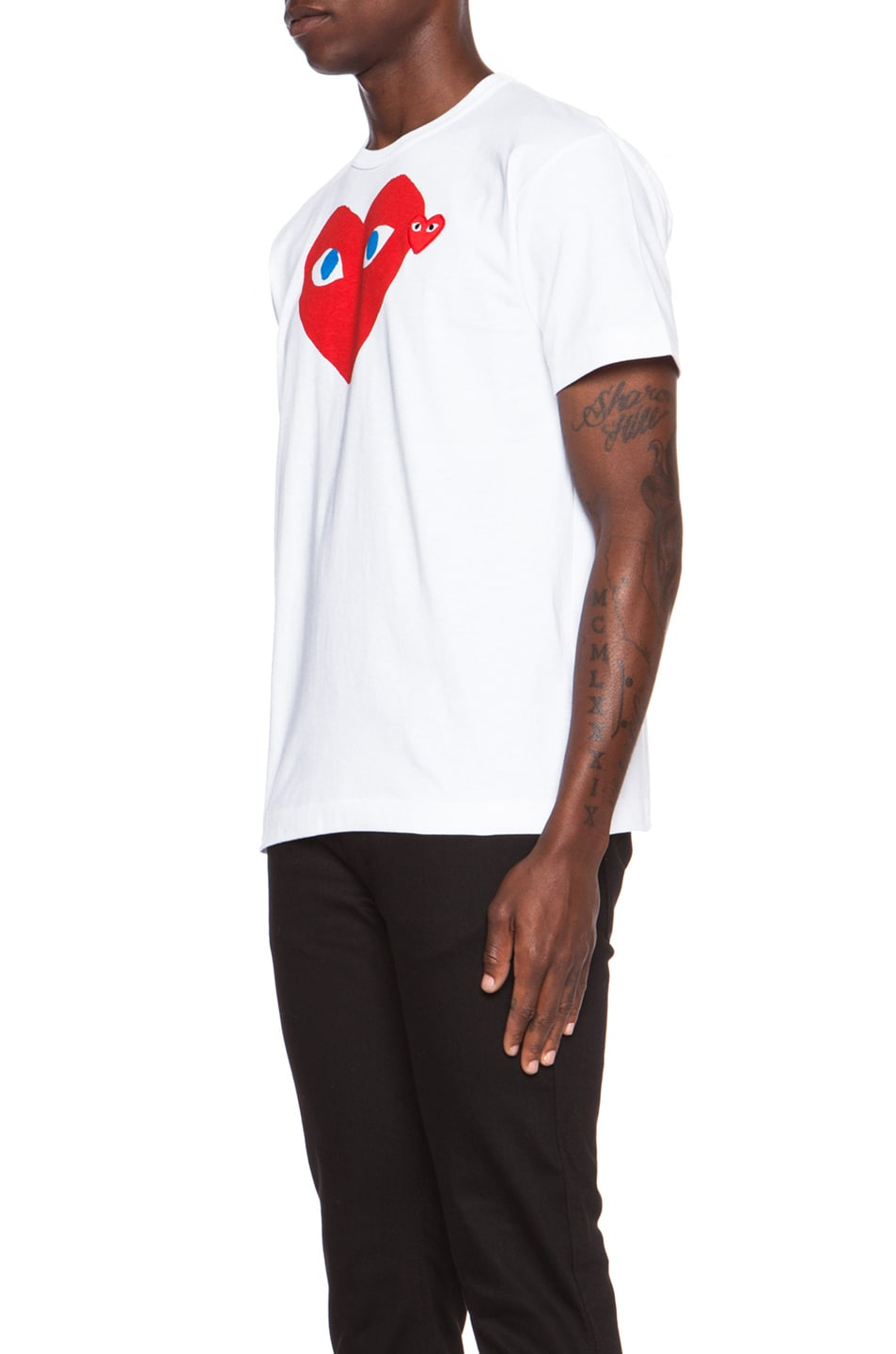 Image 2 of Comme Des Garcons PLAY Red Emblem Cotton Tee in White