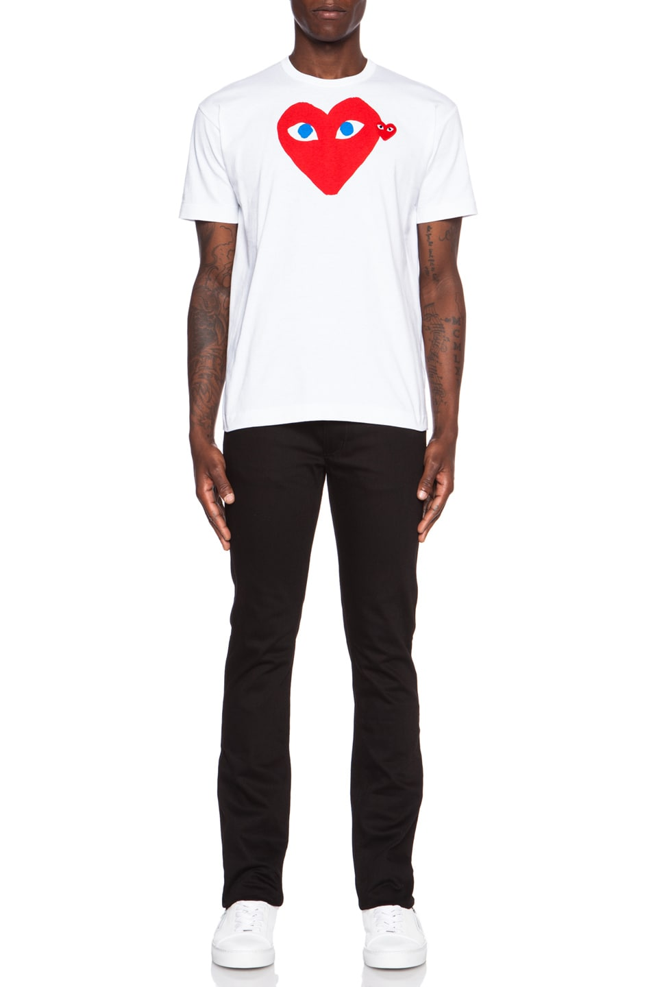Image 5 of Comme Des Garcons PLAY Red Emblem Cotton Tee in White