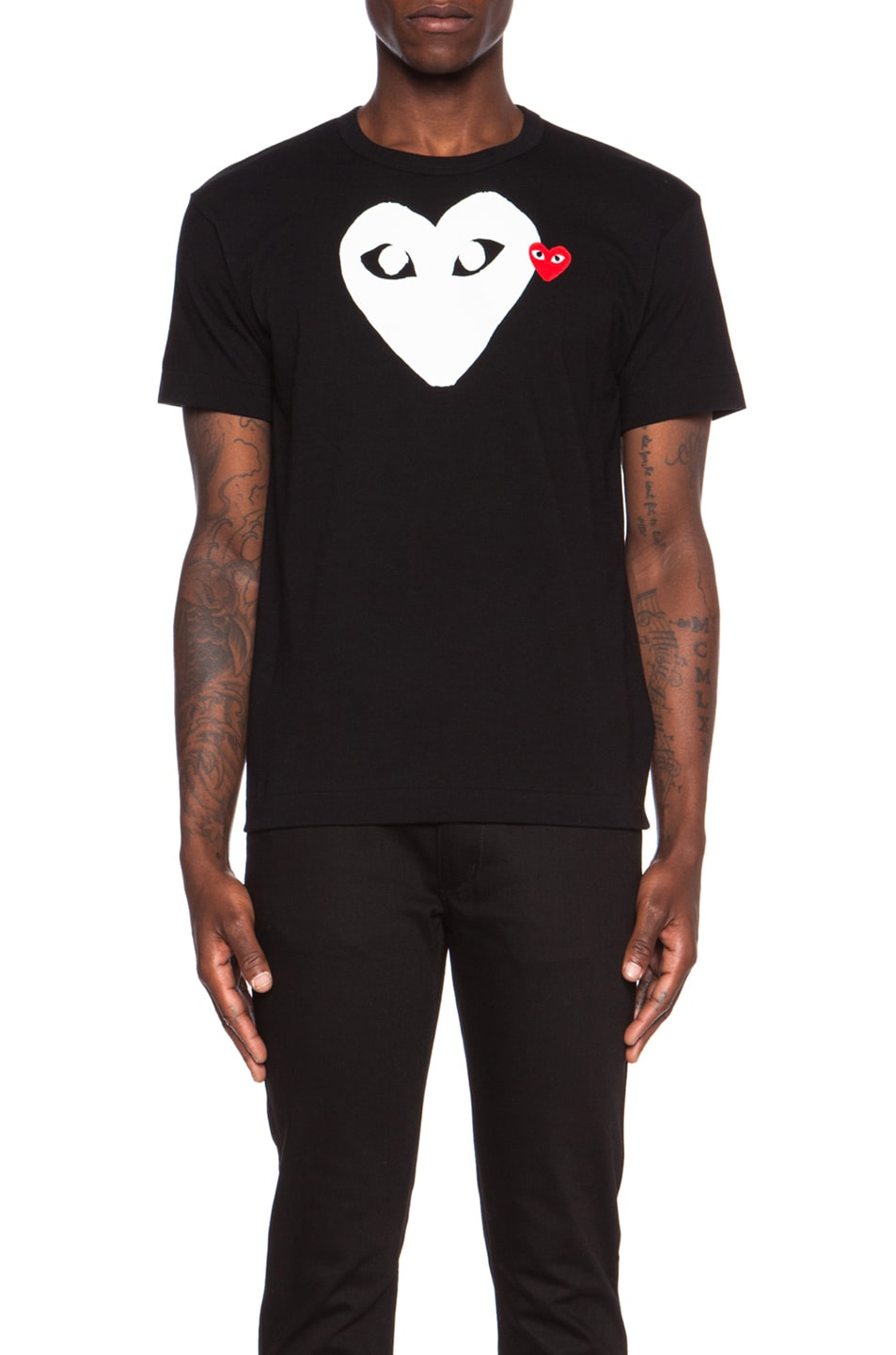 Image 1 of Comme Des Garcons PLAY Red Emblem Cotton Tee in Black