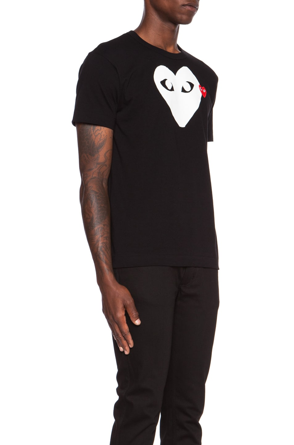 Image 3 of Comme Des Garcons PLAY Red Emblem Cotton Tee in Black
