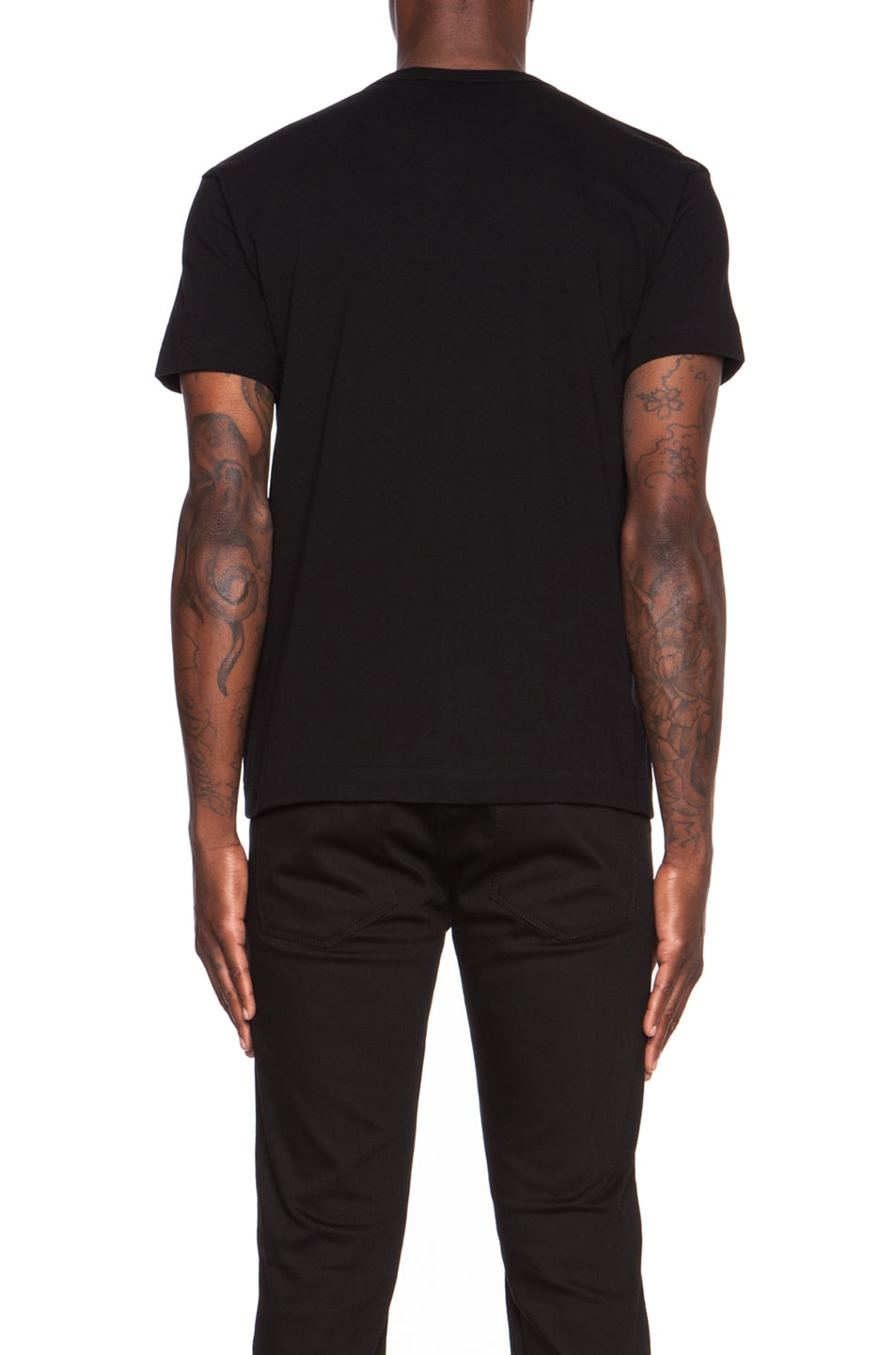Image 4 of Comme Des Garcons PLAY Red Emblem Cotton Tee in Black
