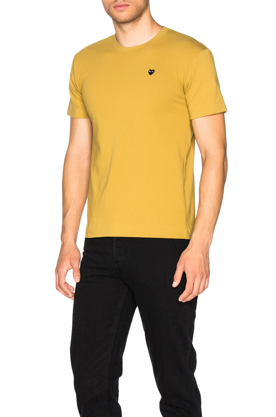 Small Black Emblem Cotton Tee In Yellow