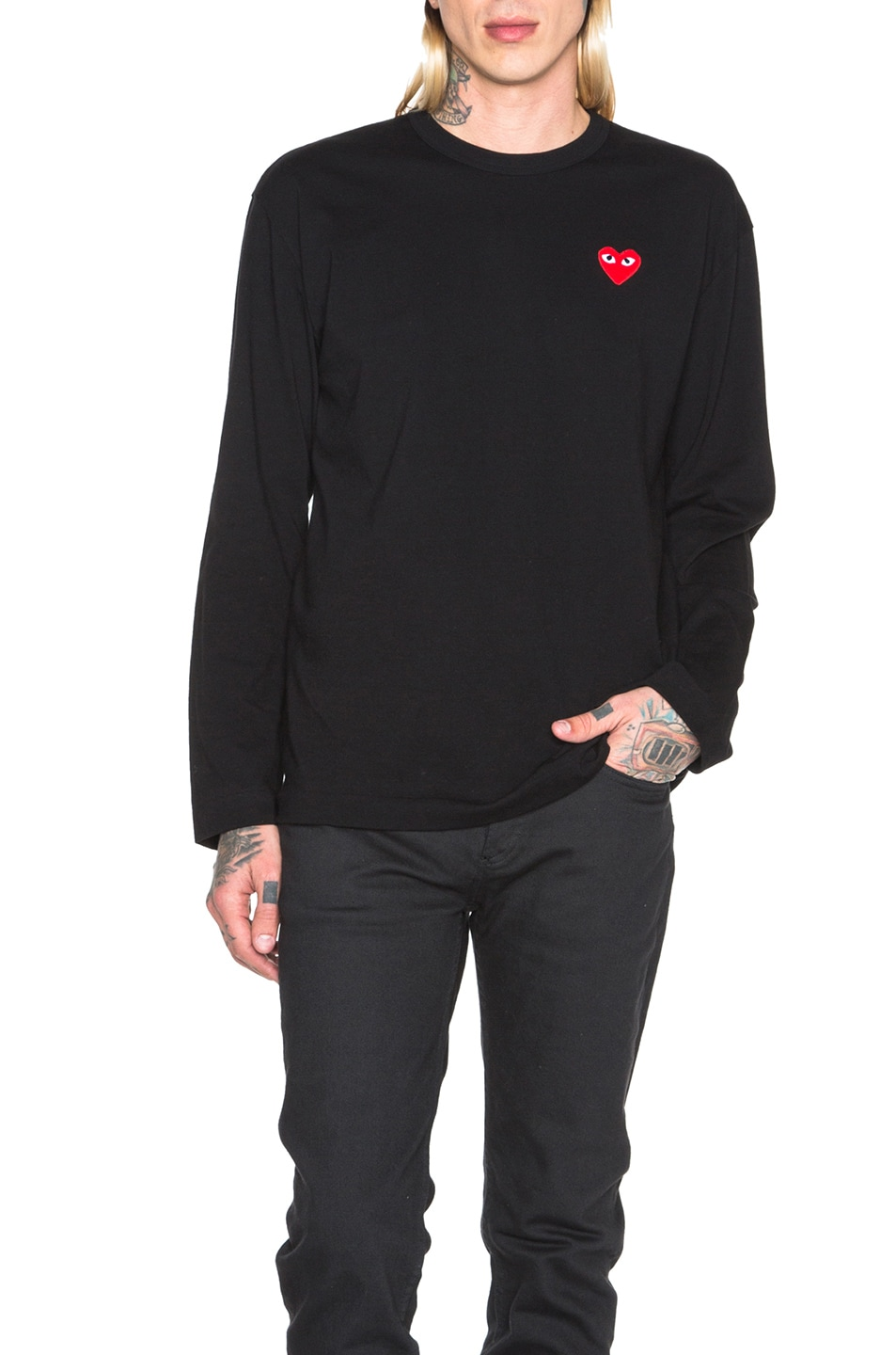 Image 1 of Comme Des Garcons PLAY Red Emblem Cotton Long Sleeve Tee in Black