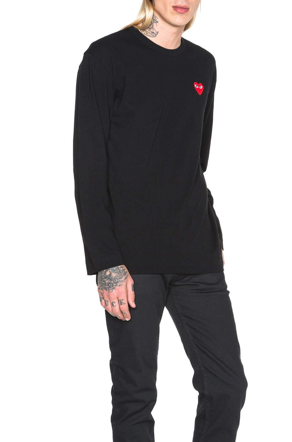 Image 3 of Comme Des Garcons PLAY Red Emblem Cotton Long Sleeve Tee in Black