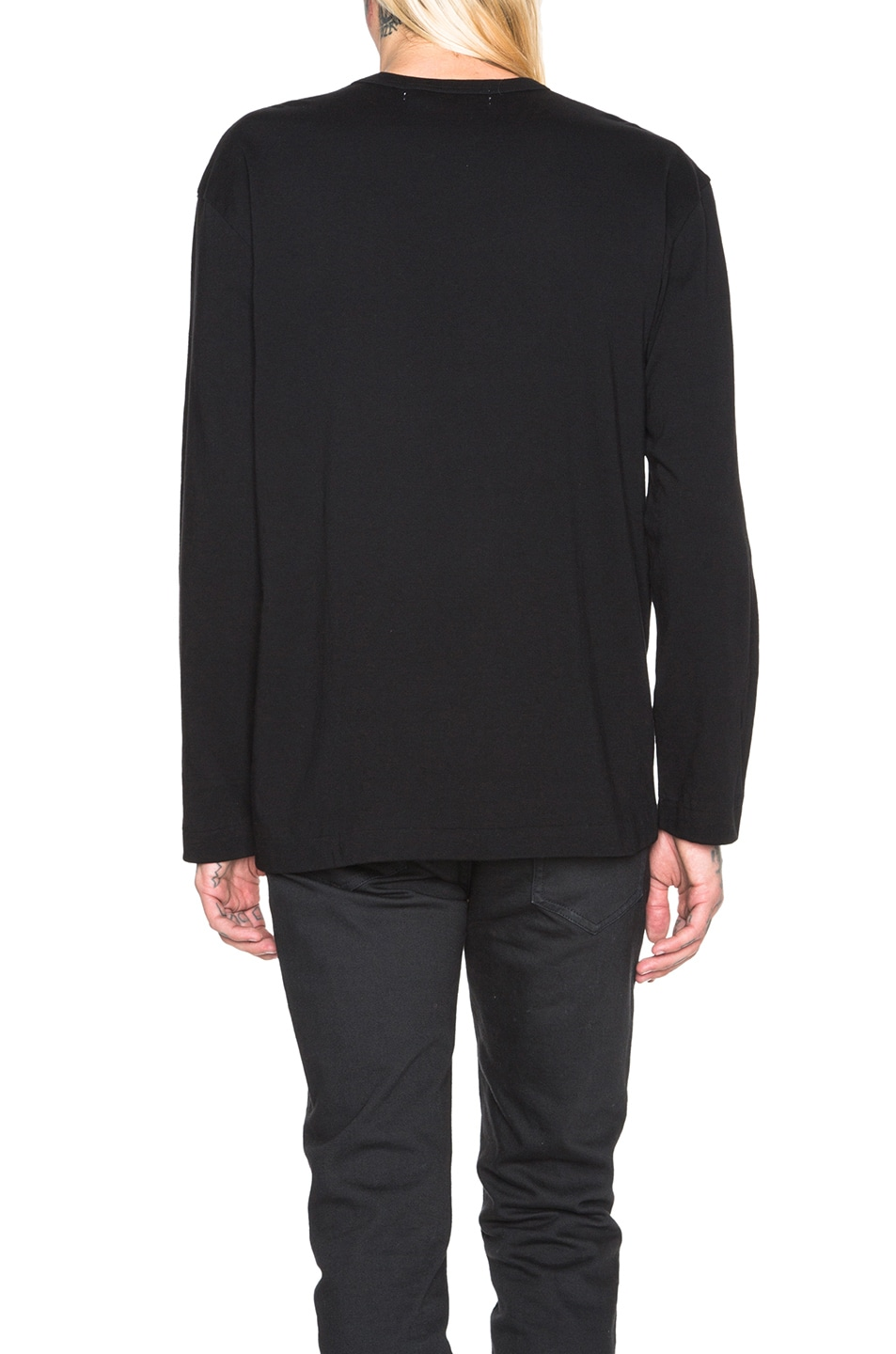Image 4 of Comme Des Garcons PLAY Red Emblem Cotton Long Sleeve Tee in Black