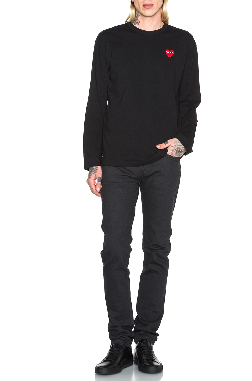 Image 5 of Comme Des Garcons PLAY Red Emblem Cotton Long Sleeve Tee in Black