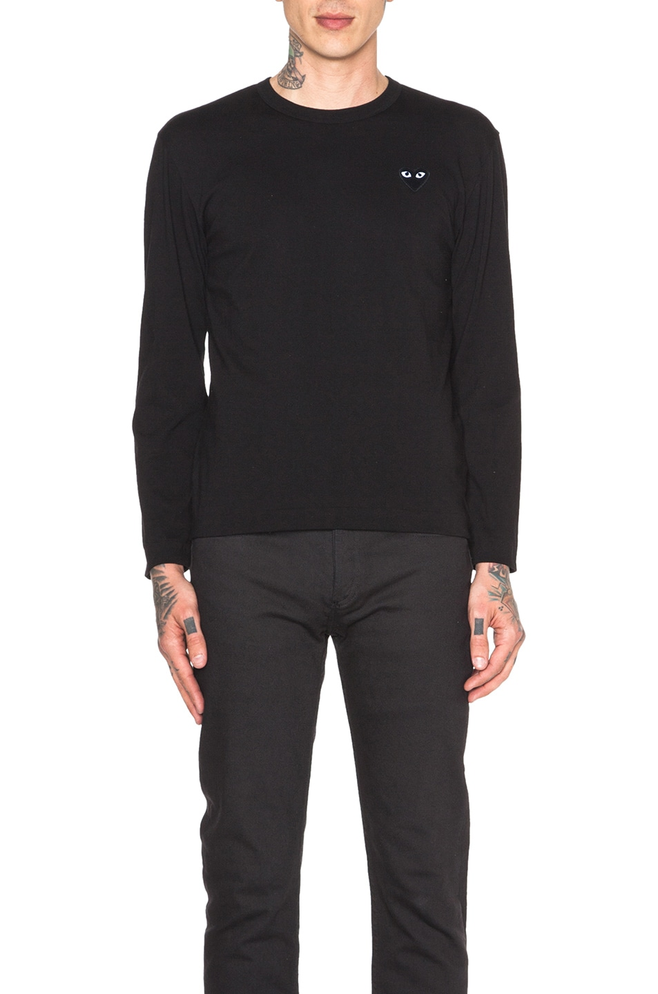 Image 1 of Comme Des Garcons PLAY Black Emblem Cotton Long Sleeve Tee in Black