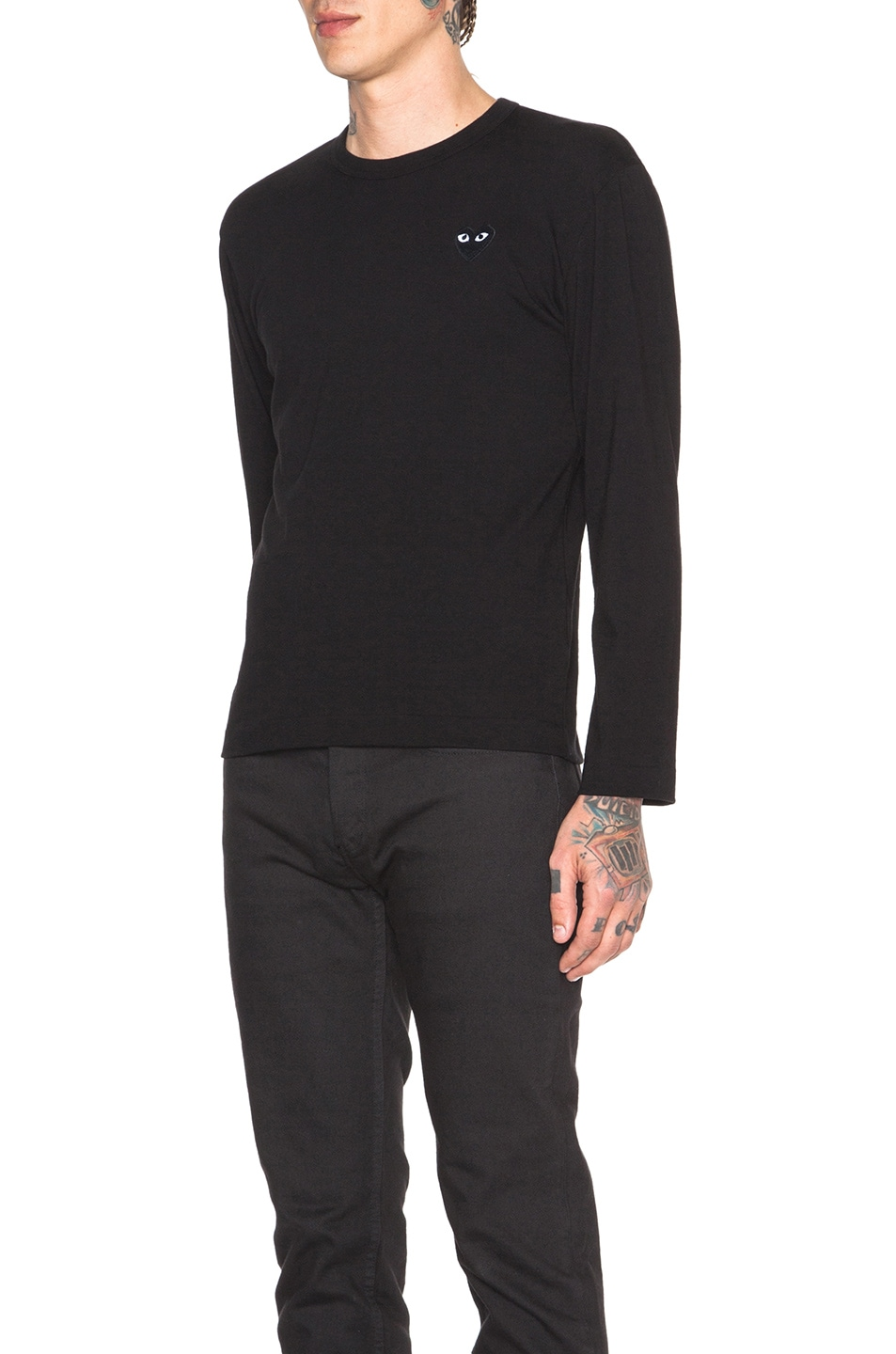 Image 2 of Comme Des Garcons PLAY Black Emblem Cotton Long Sleeve Tee in Black