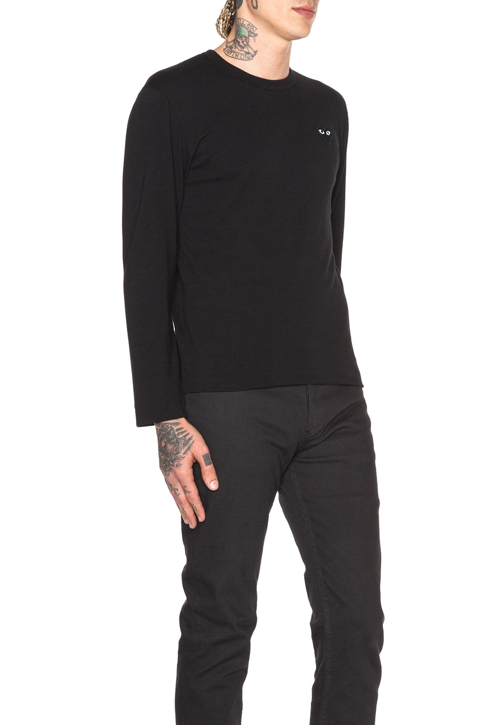Image 3 of Comme Des Garcons PLAY Black Emblem Cotton Long Sleeve Tee in Black